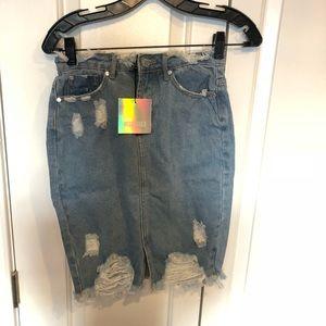 Misguided Destressed denim skirt